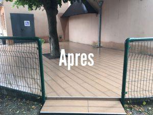 La Terrasse s'offre un nouveau carrelage imitation parquet